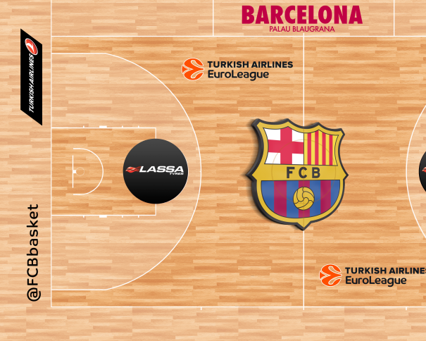 """En esta imagen podemos ver cómo será la pista del Barcelona durante los Partidos de la Euroliga 2016-2017, destacando el escudo """"tridimensional"""", en 3D, de su círculo central, entre el resto de detalles"""