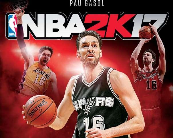 En esta Portada del NBA2K17 podemos ver 3 imágenes de Pau Gasol, la Principal y Central con la camiseta de los San Antonio Spurs, y las otras 2, con la de los Chicago Bulls y la de Los Angeles Lakers