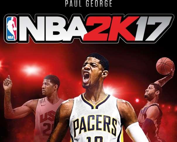 En esta Portada del NBA2K17 podemos ver 3 imágenes de Paul George, la Principal y Central con la camiseta de Pacers y otra con la de Team USA