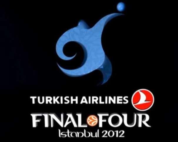 En esta imagen podemos ver el Logo de la Final Four 2012 de Estambul, Logo desvelado el 28 de diciembre de 2011 haciendo referencia al agua y a las formas onduladas de 2 de los edificios Más Importantes de Estambul, la Mezquita Azul y el Hagia Sophia