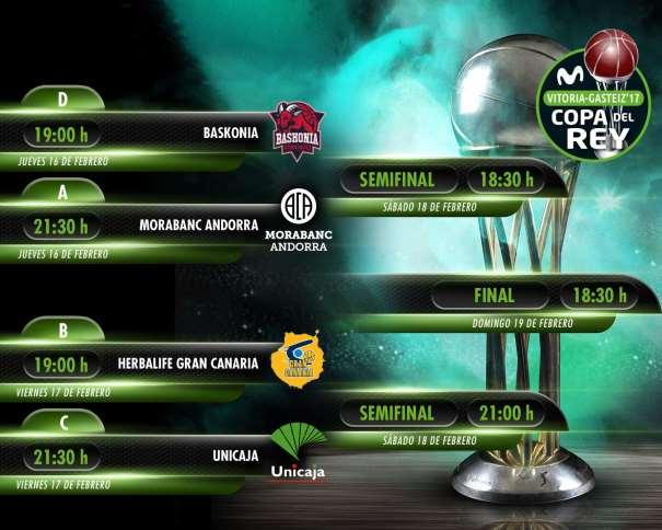 E esta imagen podemos ver los horarios de los 7 Partidos de la Copa ACB 2017 de Vitoria-Gasteiz, de sus 4 días de Adrenalina, del jueves, del viernes, del sábado y del domingo