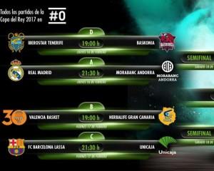 En esta foto podemos ver los emparejamientos Cuartos de Final de los 8 Equipos que disputarán la Copa ACB 2017 de Vitoria-Gasteiz, con sus horarios y el canal televisivo en el que podrán ser vistos