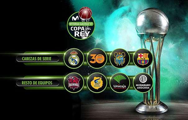 En esta imagen podemos ver los 8 Equipos que disputarán la Copa ACB 2017 de Vitoria-Gasteiz, divididos en 2 Grupos: Cabezas de Serie y Resto de Equipos (No Cabezas de Serie)