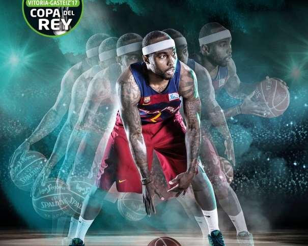 En esta imagen podemos ver al Base estadounidense Tyrese Rice, el Jugador elegido para la Imagen Gráfica del Barcelona en la Copa ACB 2017 de Vitoria-Gasteiz, en la secuencia de bote (manejo de balón)