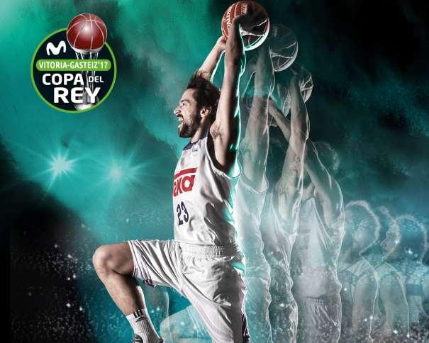 En esta imagen podemos ver a Sergio Llull, el Jugador elegido para la Imagen Gráfica del Madrid en la Copa ACB 2017 de Vitoria-Gasteiz, en la secuencia de un mate