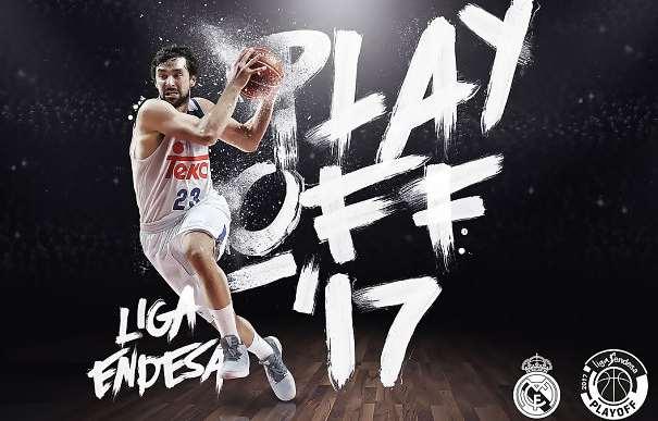 En esta imagen podemos ver a Sergio Llull, parte del cartel realizado por la ACB para anunciar que el Madrid es el Único Equipo que, en estos momentos, según su web Oficial, ha conseguido la Clasificación para los Playoffs 2017