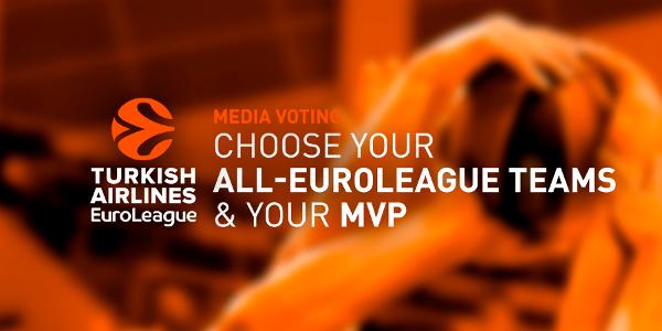 En esta imagen podemos ver el banner promocional realizado por la Euroliga de Baloncesto para Iniciar la Votación de los Medios de Comunicación al Quinteto Ideal y al MVP (Mejor Jugador) de la Temporada