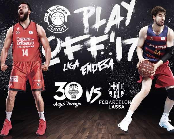 En esta imagen, facilitada por la Liga ACB, podemos ver a 2 de los 3 Mejores Jugadores Interiores de la Liga, al Ala-Pívot (14) Bojan Dubljević, del València, y al Pívot (44) Ante Tomić (pronunciado Tómitch), del Barcelona