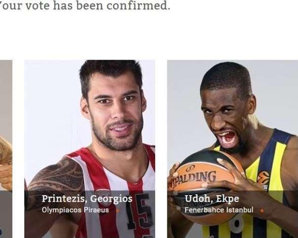 """En esta imagen podemos ver a los 2 Jugadores que hemos votado como Jugadores Interiores del """"Quinteto Ideal"""" de la Nueva Euroliga de Baloncesto 2016-2017 desde devuestrobasket.com: Giorgos Printezis y Ekpe Udoh"""