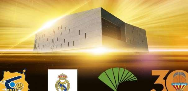 En esta imagen, facilitada por la Liba ACB de Baloncesto, podemos ver los escudos de los 4 Equipos que disputarán la Supercopa ACB 2017 de Las Palmas de Gran Canaria, el Gran Canaria, el Madrid, el Málaga y el València
