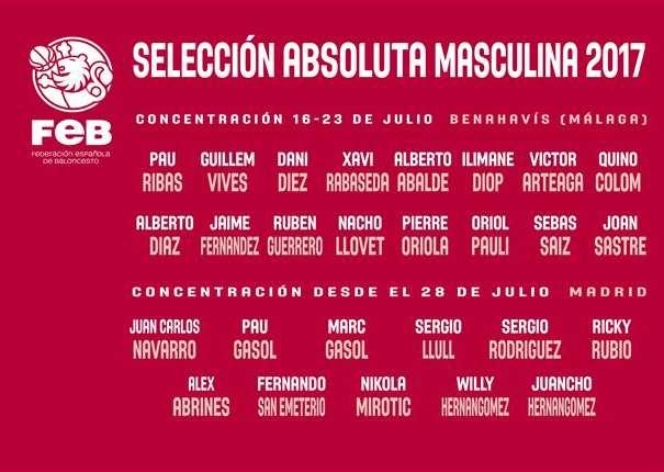 En esta imagen, facilitada por la FEB, Federación Española de Baloncesto, podemos ver los 27 nombres de los 27 Jugadores que conforman las 2 Convocatorias de este verano