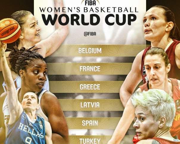 En esta imagen podemos ver a una Jugadora de cada una de las 6 Selecciones Europeas que disputarán el Mundial Femenino 2018, Alba Torrens entre ellas