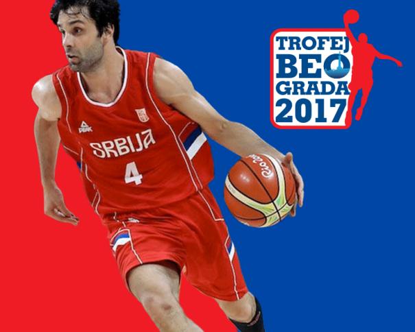 En esta imagen, tomada de la web Oficial de la Federación Serbia de Baloncesto, podemos ver un detalle del Cartel del Torneo de Belgrado 2017, donde se ve al Base de la Selección de la República de Serbia, Milosh Teodositch