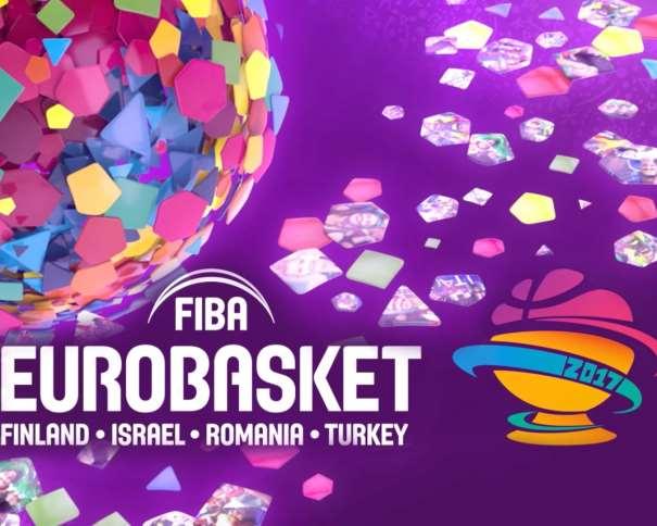 En esta imagen podemos ver el Logo del EuroBasket 2017 FIBA, junto a los nombres de los 4 países en los que se disputarán cada uno de los 4 Grupos de la Primera Fase