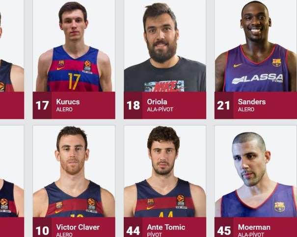 En esta imagen, tomada de la web Oficial del Barcelona, podemos ver a 6 de sus Jugadores: Pierre Oriola, Rakim Sanders, Adrien Moerman, Victor Claver, Rodions Kurucs y Ante Tomitch