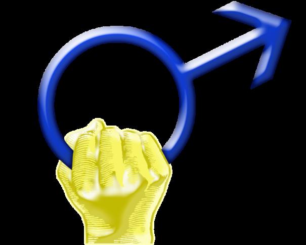 En esta imagen, tomada de wikipedia.org, podemos ver el Símbolo del Día Internacional del Hombre, en el que se ve una mano derecha de color amarillo agarrando el símbolo del Hombre (círculo con flecha) en color azul, color de dicho día
