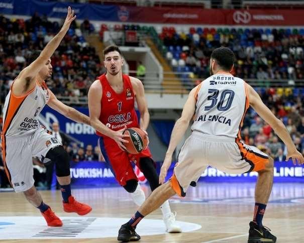En esta foto, facilitada por la EuroLiga de Baloncesto, podemos ver a Nando de Coló yéndose de su defensor, con bote, con mano izquierda, mientras Joan Sastre está atento por si tiene que hacer una ayuda (defensiva)
