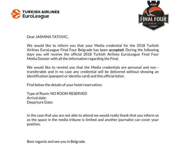 Media credential for the 2018 Turkish Airlines EuroLeague Final Four Belgrade has been accepted